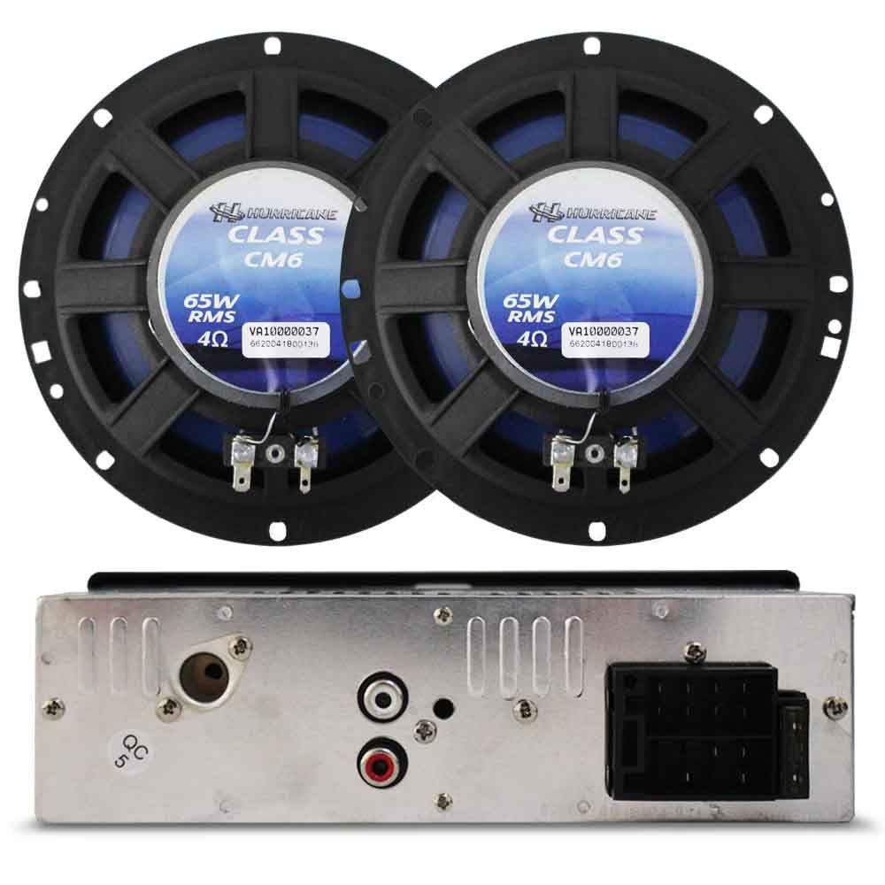 Kit Mp3 Player Usb + Alto Falante 6 Pol 100 Rms Hurricane
