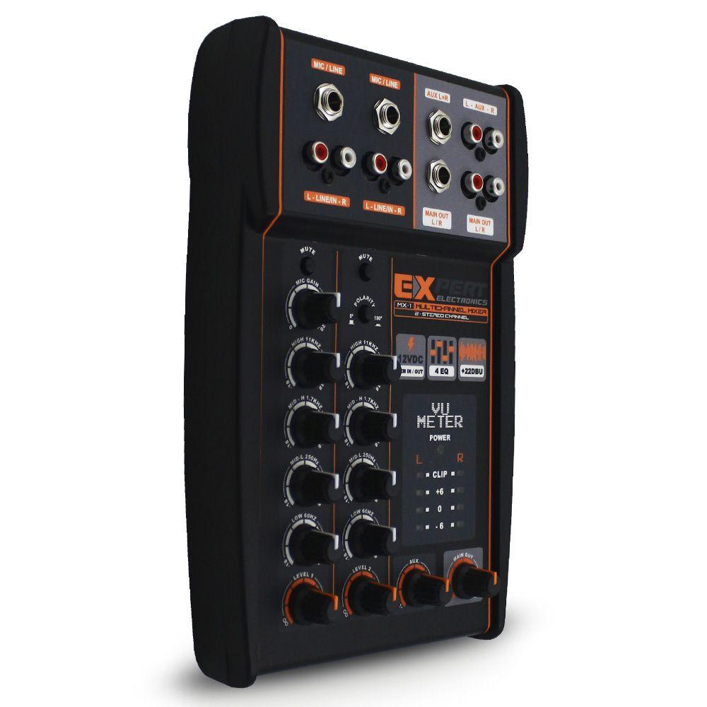 Mesa Som Automotivo Expert Mx 1 Stereo 4 Canais 12v Auxiliar Rca Microfone Equalizador 4 Bandas