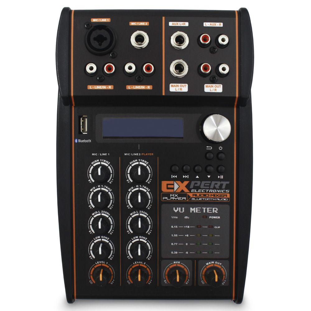 Mesa Som Automotivo Expert MX-Player Stereo 2 Canais 12v Bluetooth Usb Auxiliar Rca Microfone Equalizador 4 Bandas