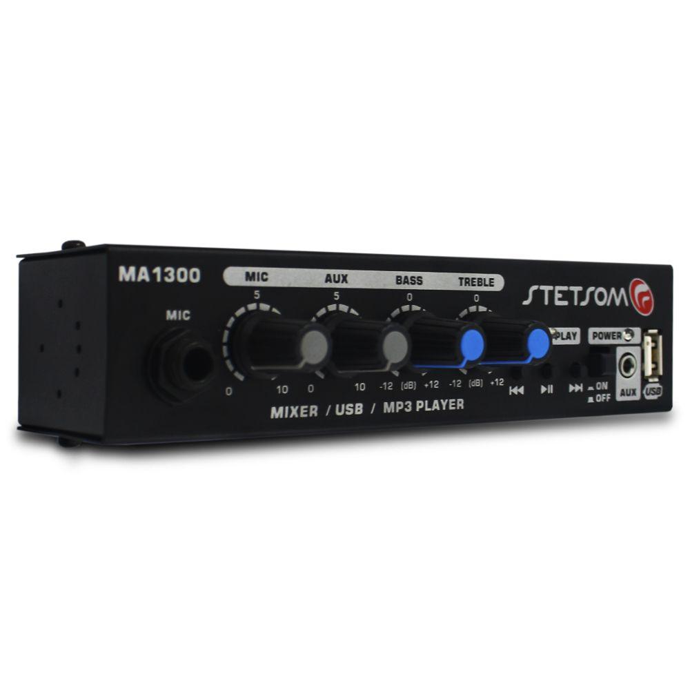 Mesa Som Automotivo Stetsom MA-1300 Mixer 1 Canal Auxiliar P2 12v Microfone Equalizador 2 Bandas Mp3 Wma