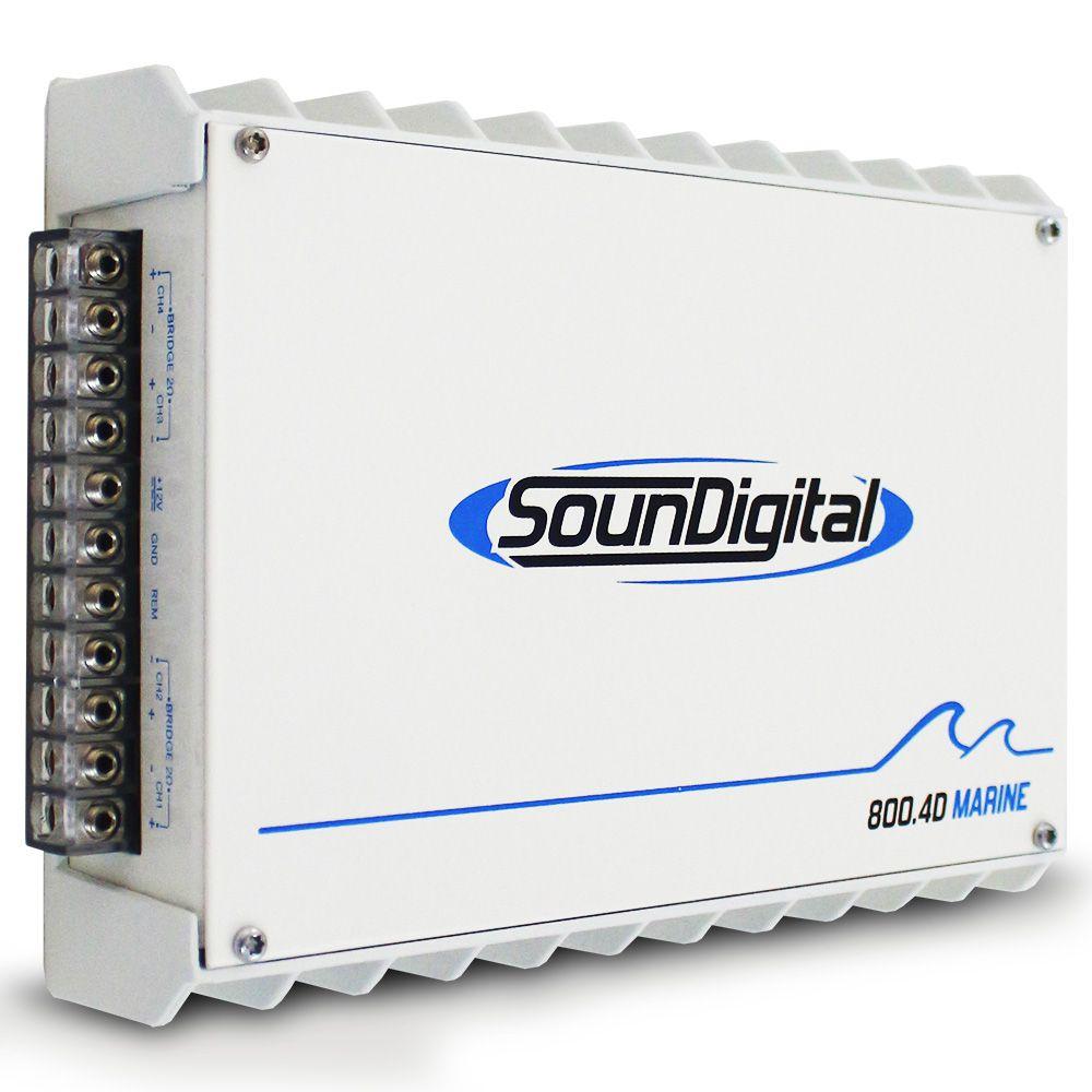 Modulo Amplificador Náutico Soundigital 800 Rms SD-800.4D MARINE Stereo Digital 4 Canais 1 Ohm 2 Ohms Classe D