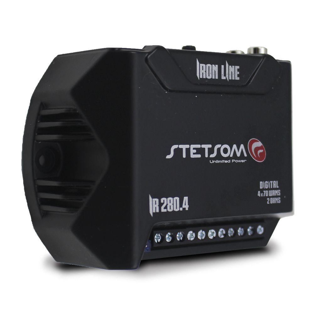 Módulo Amplificador Stetsom 280 Rms IR-280.4 Iron Line Stereo Digital 4 Canais 2 Ohms Classe D Rca Crossover Full Range