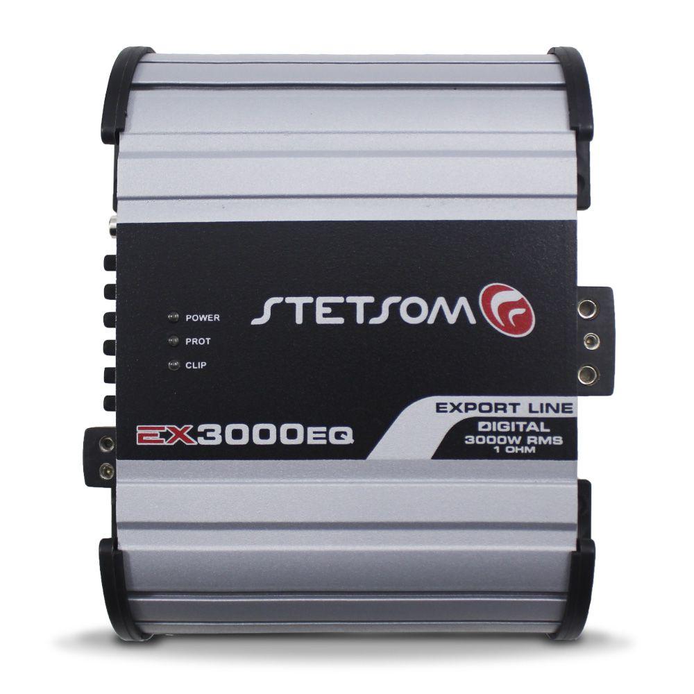 Módulo Amplificador Stetsom 3000 Rms EX-3000EQ Export Line Mono Digital 1 Canal 1 Ohm 2 Ohms Classe D Crossover
