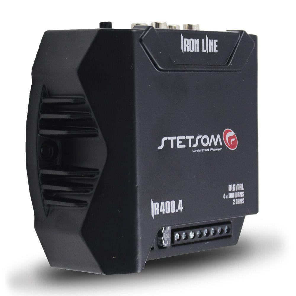 Modulo Amplificador Stetsom 400 Rms IR-400.4 Iron Line Stereo Digital 4 Canais 2 Ohms Classe D Rca Crossover Full Range