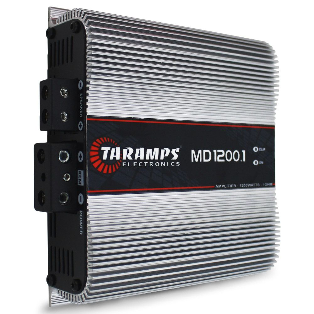 Modulo Amplificador Taramps 1200 Rms MD-1200.1 Mono Digital 1 Canal 1 Ohm 2 Ohms Classe D Bass Boost Crossover