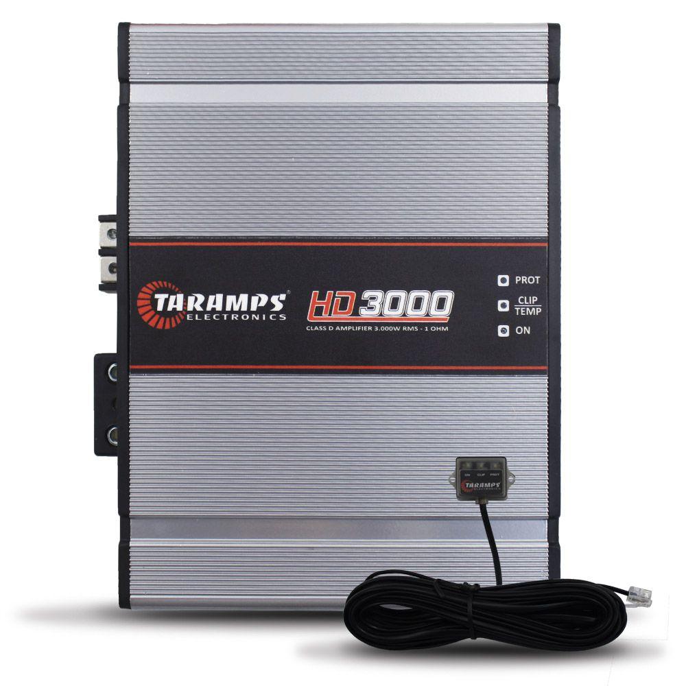 Modulo Amplificador Taramps 3000 Rms HD-3000 Mono Digital 1 Canal 1 Ohm 2 Ohms e 4 Ohms Bass Boost Full Range
