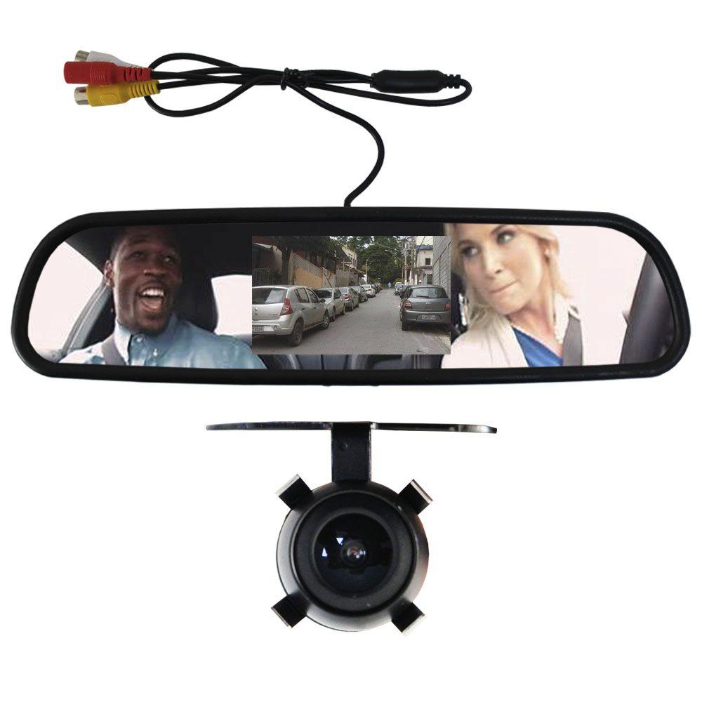"""Monitor espelho retrovisor Lcd tela 4.3"""" com camera de ré"""