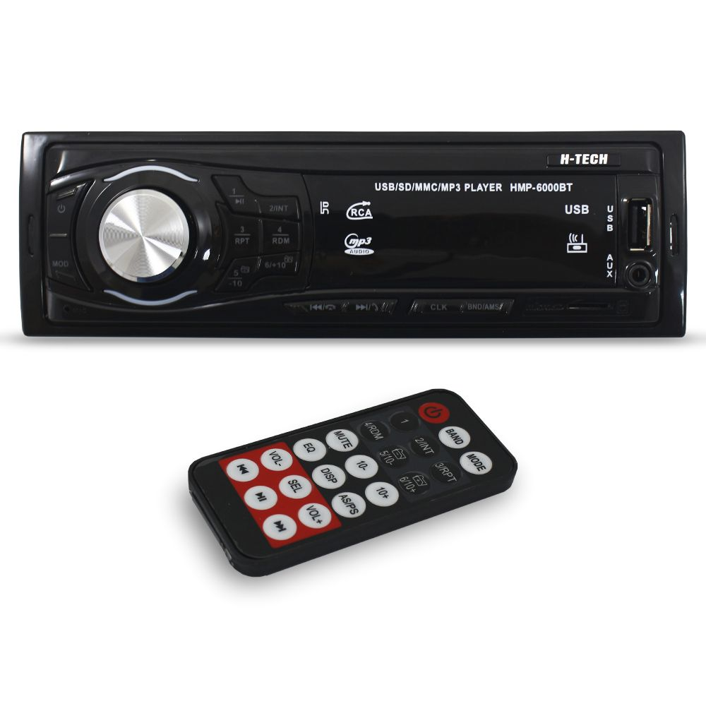 Mp3 Player Automotivo H-Tech HMP-6000BT Bluetooth Usb Sd Aux Rádio Fm Rca Equalizador