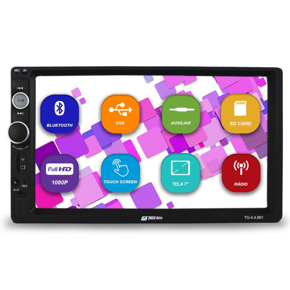 Mp5 Player Automotivo 2 Din 7 Pol Tiger Bluetooth Usb Fm