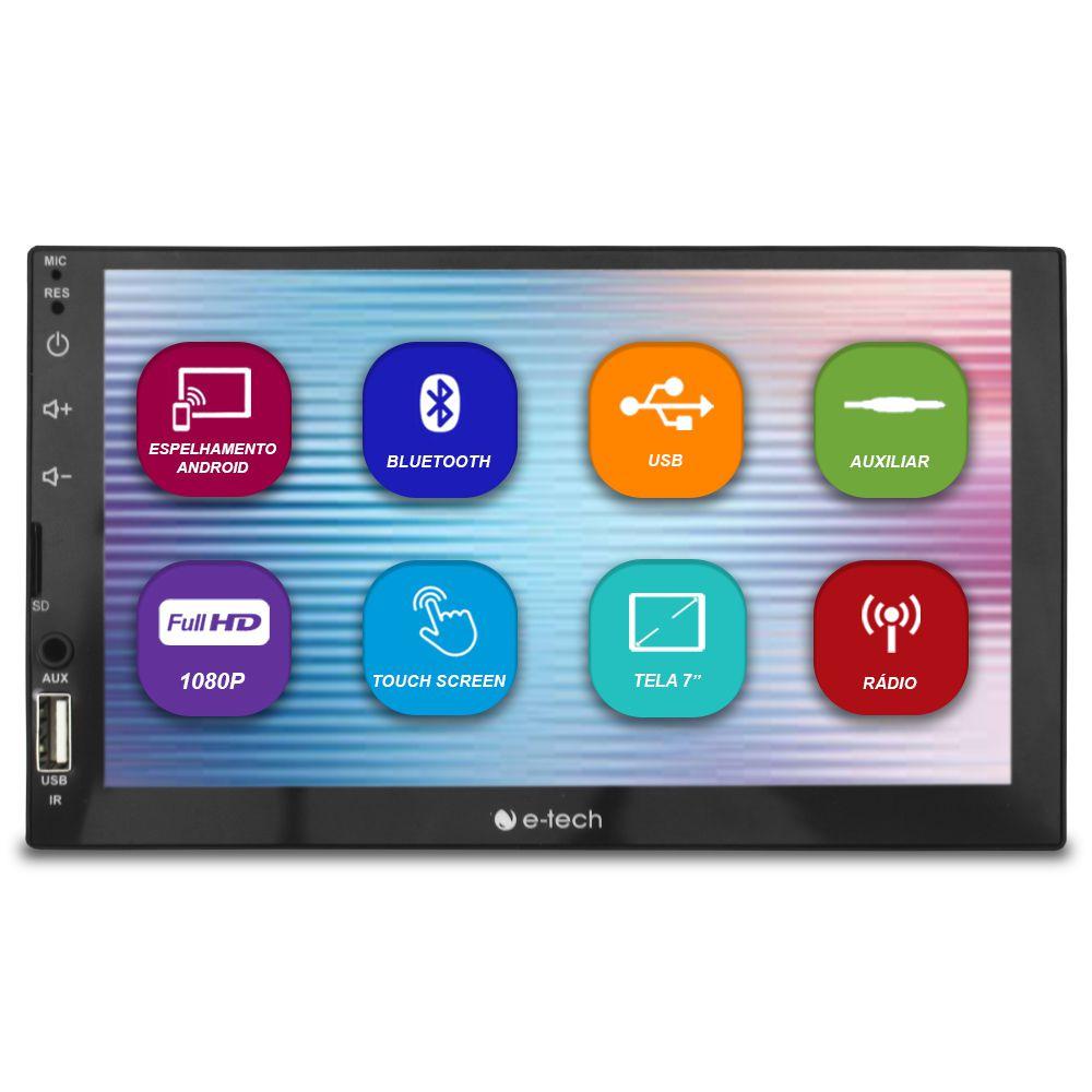 Mp5 Player Automotivo 2 Din 7 Polegadas E-tech Bluetooth Espelhamento Android e Ios Usb Fm Full Hd Comando Som Volante