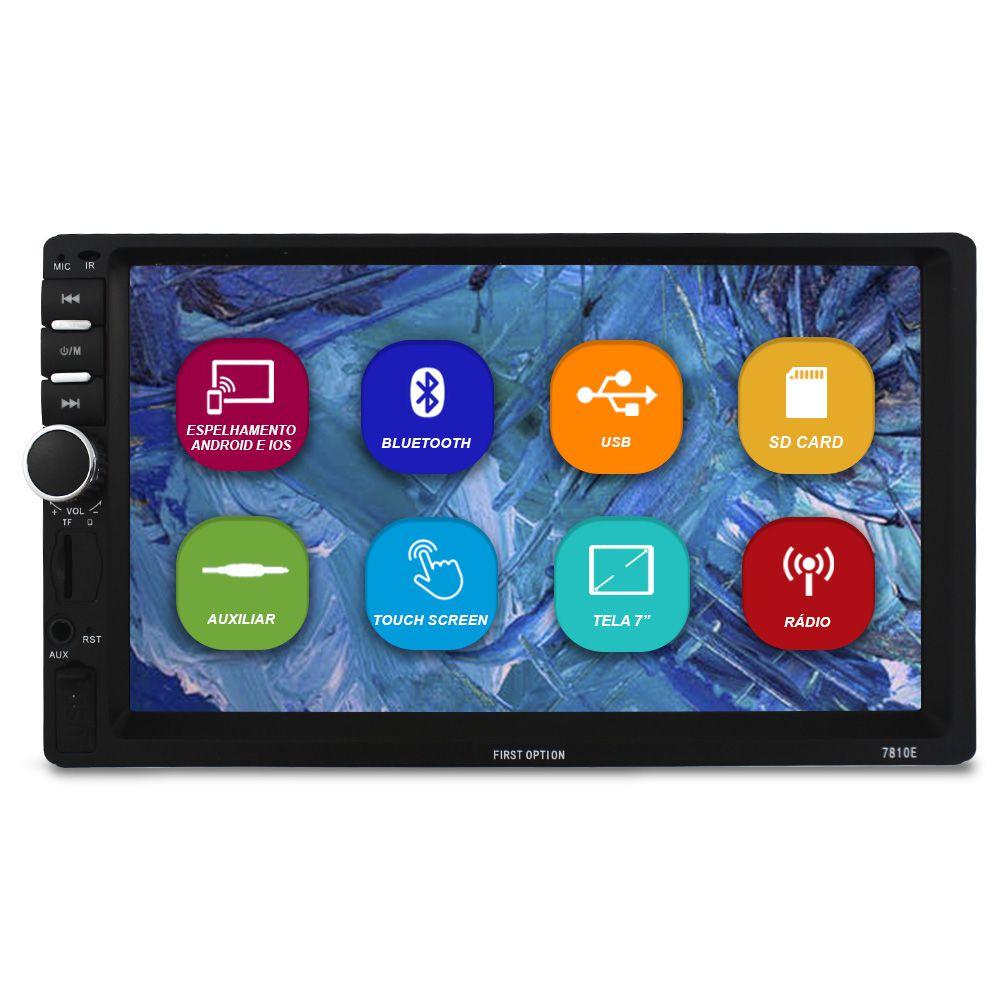 Mp5 Player Automotivo 2 Din 7 Polegadas First Option 7810E Bluetooth Espelhamento Android Ios Usb Fm Comando Som Volante