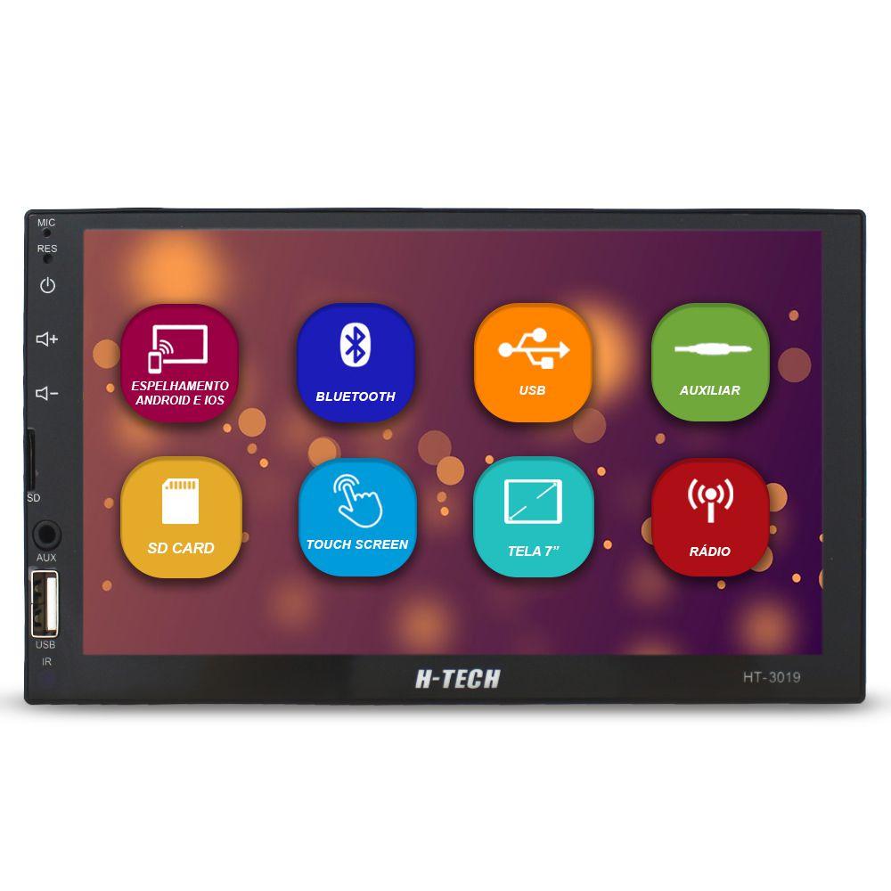 Mp5 Player Automotivo 2 Din 7 Polegadas H-Tech Bluetooth Espelhamento Android e Ios Usb Radio Fm Comando Som Volante