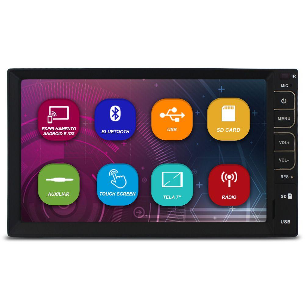 Mp5 Player Automotivo 2 Din 7 Polegadas Tay Tech Bluetooth Espelhamento Android e Ios Usb Radio Fm Comando Som Volante