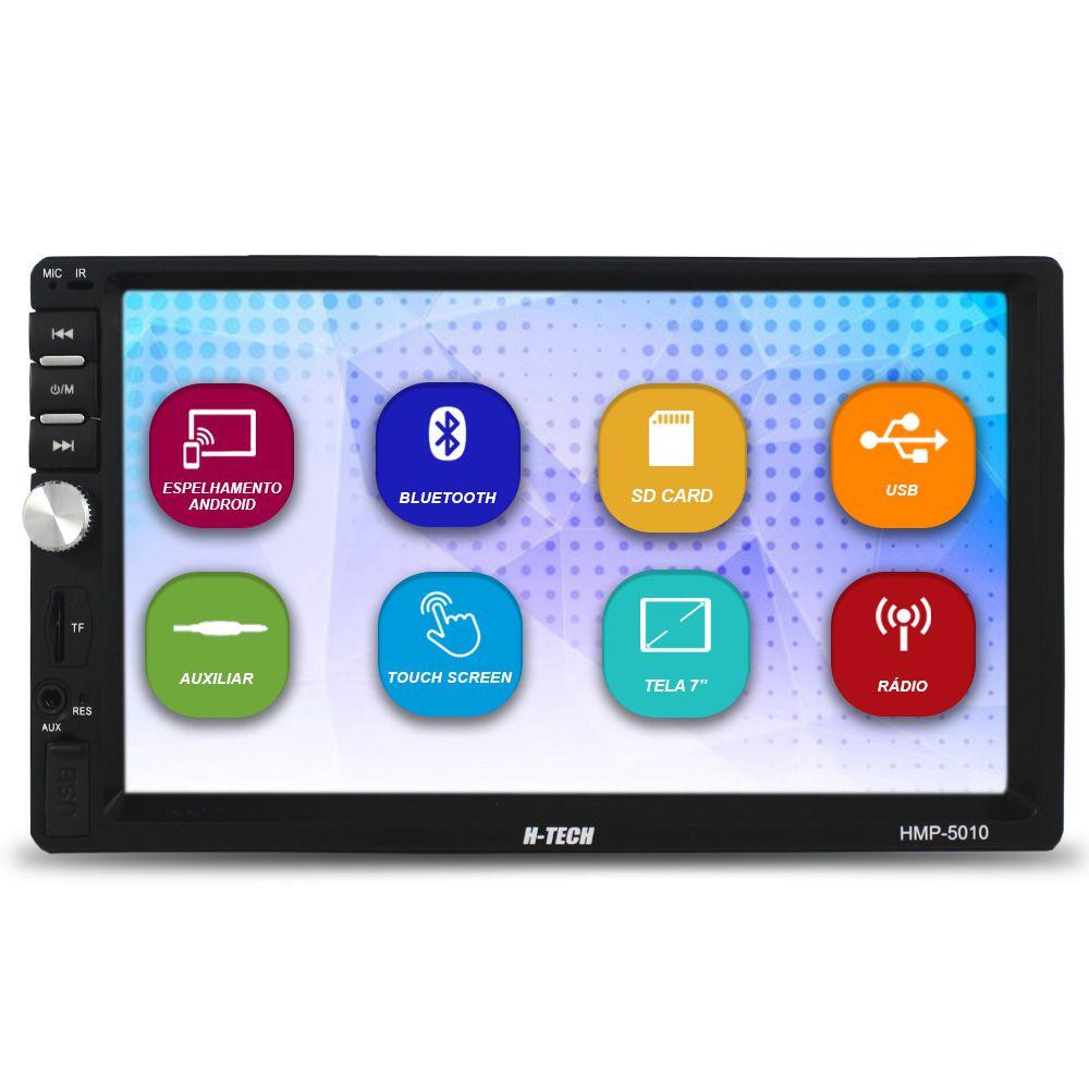 Mp5 Player Automotivo 2 Din Tela 7 Pol Bluetooth H-Tech