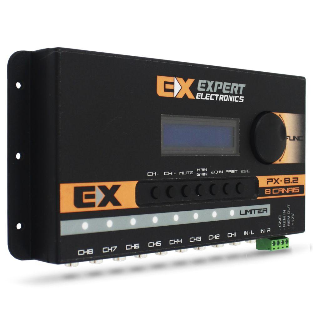 Processador Audio Automotivo Expert PX-8.2 Limiter 8 Canais Digital Crossover Equalizador Gain Delay Phase