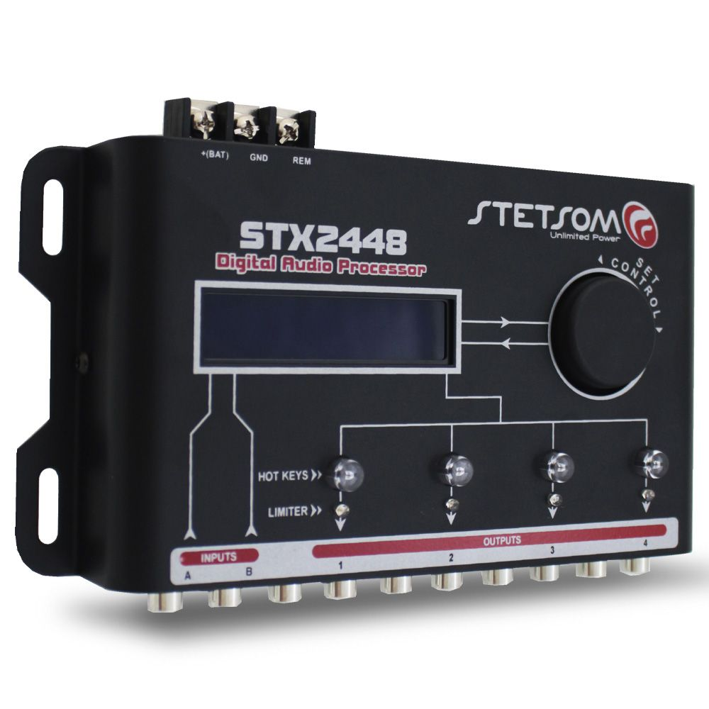 Processador Audio Automotivo Stetsom STX-2448 4 Canais Digital Crossover Equalizador Gain Delay Phase Limiter