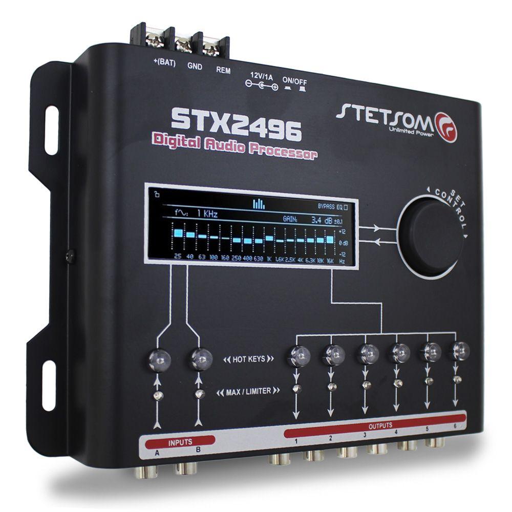 Processador Audio Automotivo Stetsom STX-2496 6 Canais Digital Crossover Equalizador Gain Delay Phase Limiter