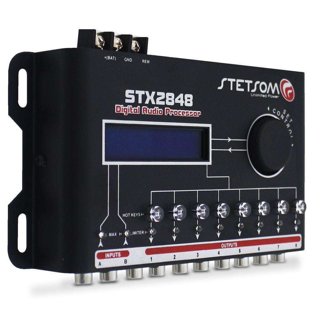 Processador Audio Automotivo Stetsom STX-2848 8 Canais Digital Crossover Equalizador Gain Delay Phase Limiter