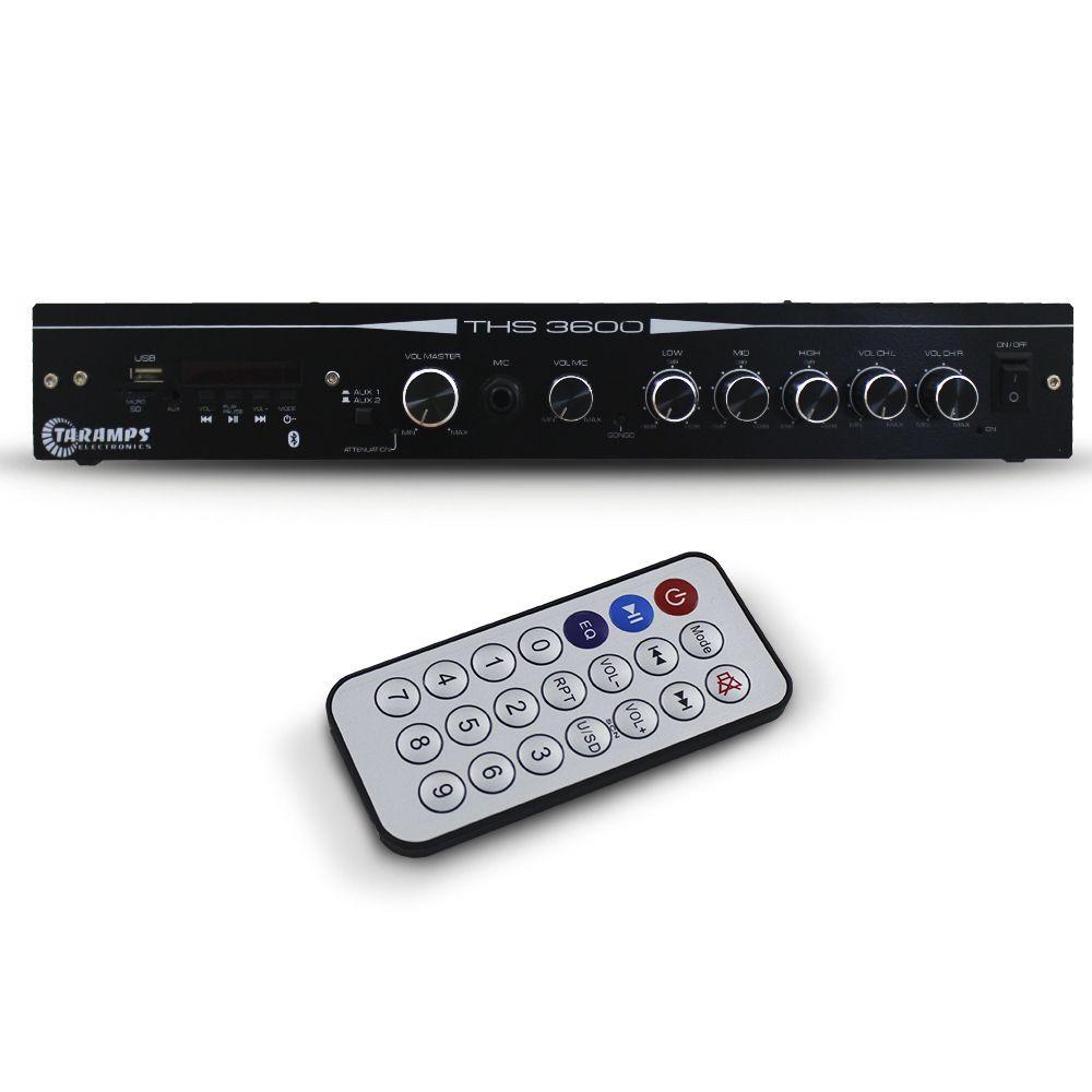 Receiver Amplificador Taramps 120 Rms THS 3600 Bluetooth Auxiliar Usb Mp3 Fm 2 Canais 4 Ohms Bivolt