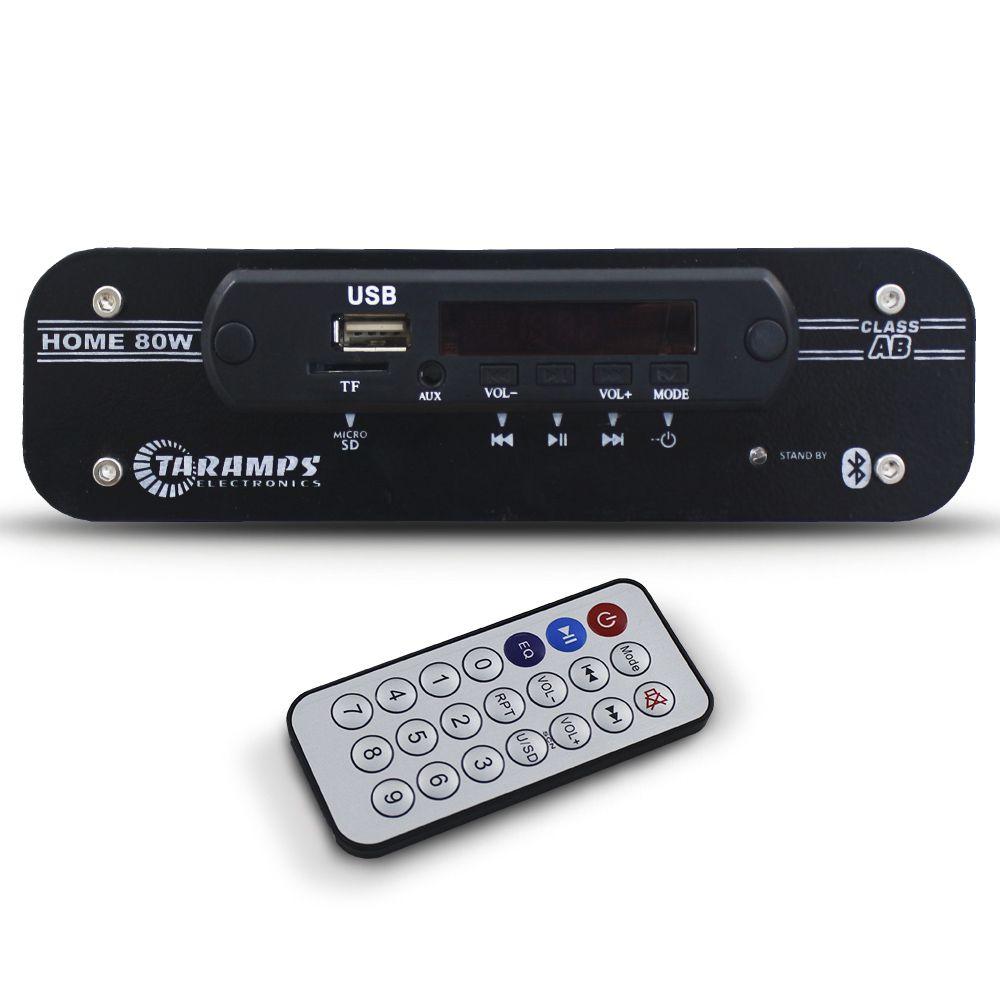 Receiver Amplificador Taramps 80 Rms Home 80w Bluetooth Auxiliar Usb Sd Mp3 4 Canais 4 Ohms Bivolt
