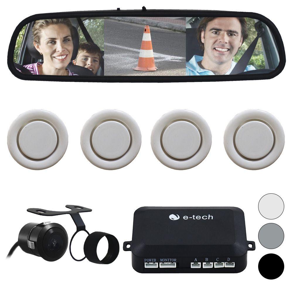 Sensor Estacionamento Camera Ré Espelho Retrovisor Tela 4.3 Polegadas E-Tech Encaixe Borboleta Parachoque Lcd