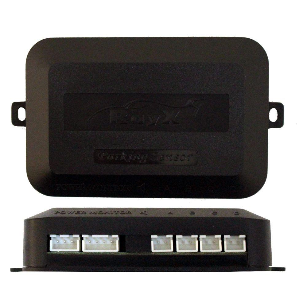 Sensor Estacionamento Ré 4 Pontos Emborrachado Ray X Universal Preto Traseiro Display Led Kit