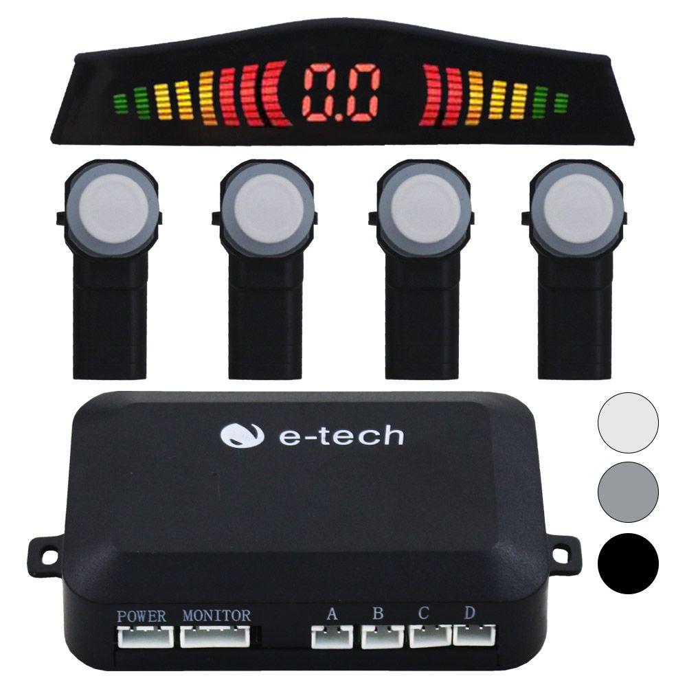 Sensor Estacionamento Ré Embutido OEM E-Tech Universal Traseiro Padrão Original Display Led Kit