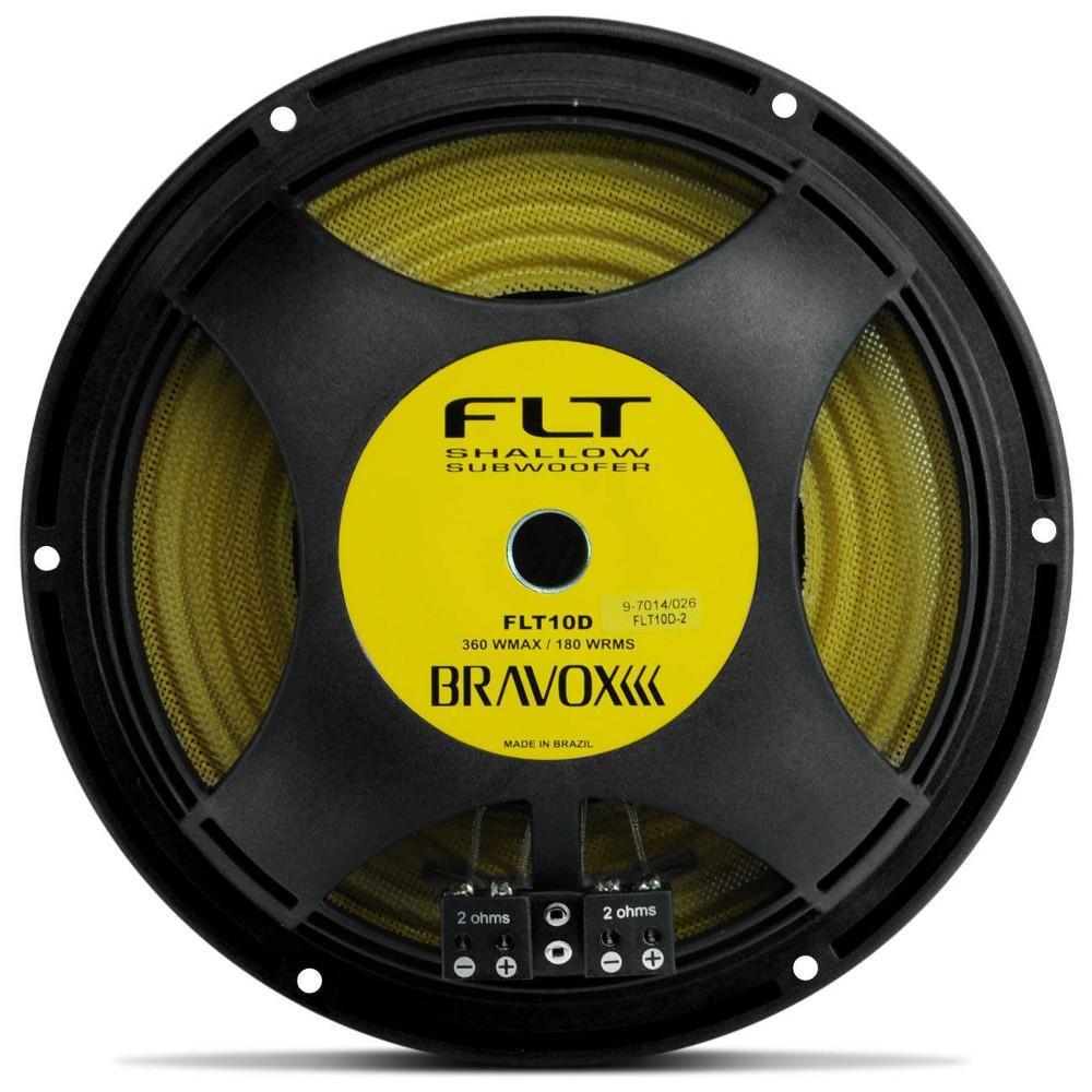 Subwoofer Bravox Flt10d-2 Flat Slim 10´ 180 wrms 2+2 Ohms