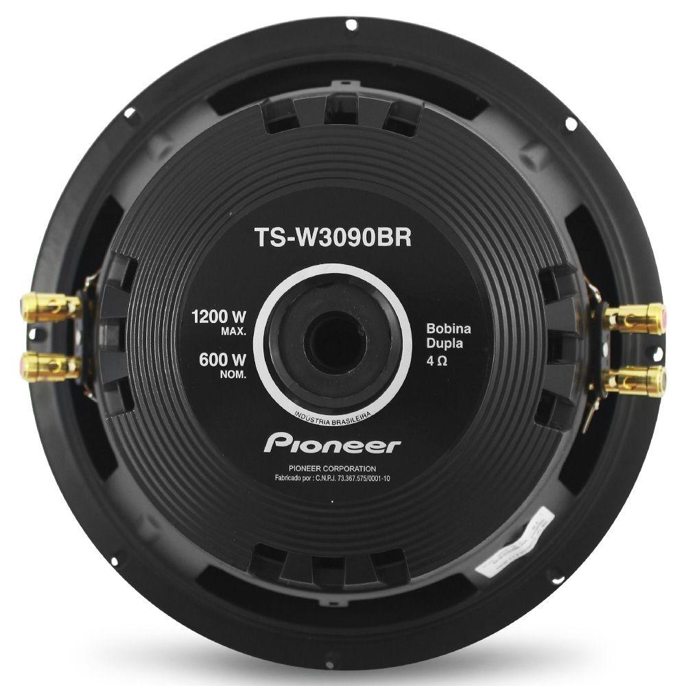 Subwoofer 12 Polegadas Pioneer 600w Rms TS-W3090BR 4+4 Ohms Ohms Bobina Dupla 1200w Pico Peça