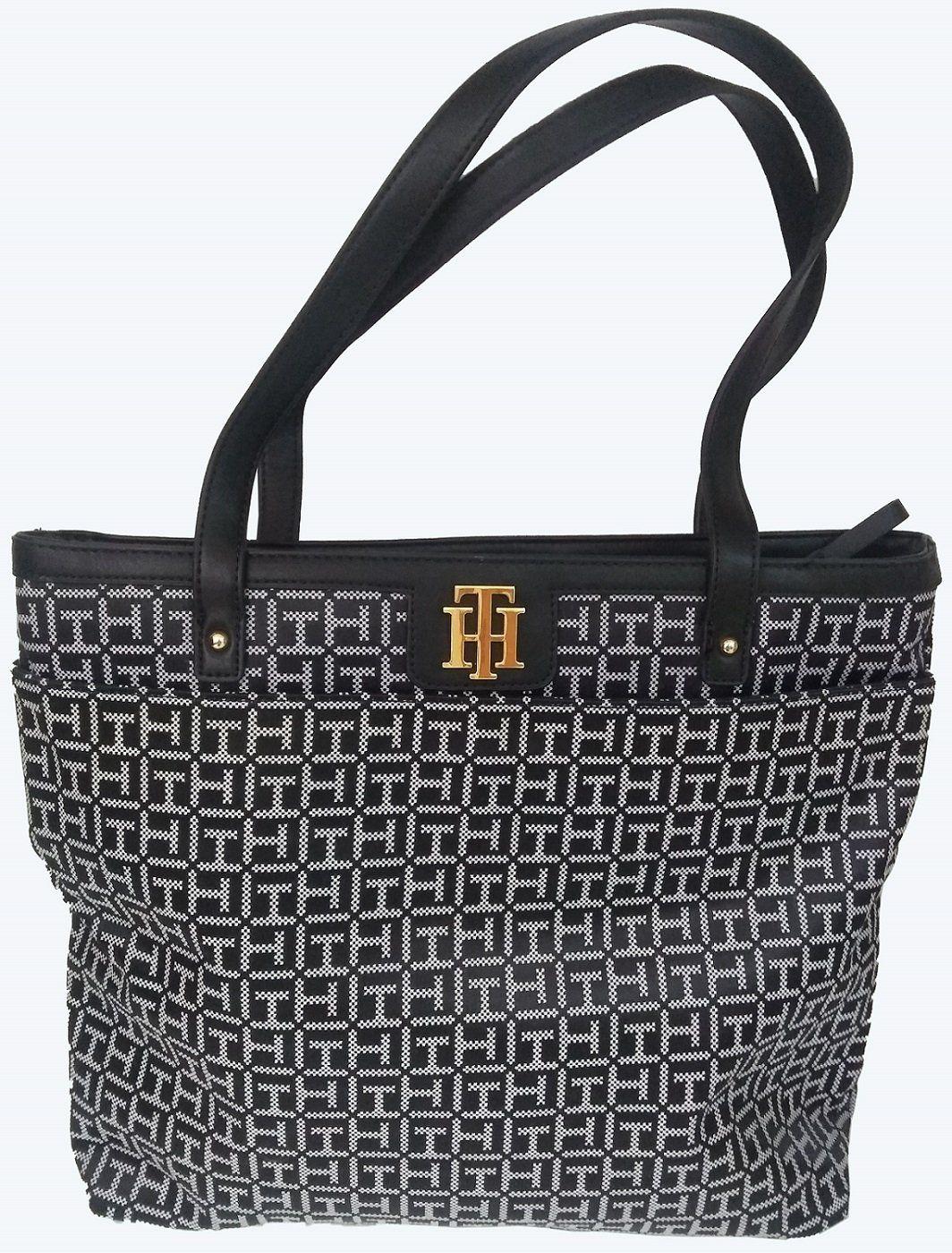 53f743e0f Bolsa Feminina Tommy Hilfiger Preta e Branca Original Importada ...