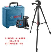 Combo Nivel A Laser Gll 2-15 Com Maleta + Tripe Bt 150 Bosch
