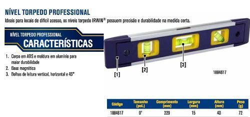 NÍVEL TORPEDO PROFISSIONAL 228 MM (9 POL.) 1884617 IRWIN MAGNÉTICO