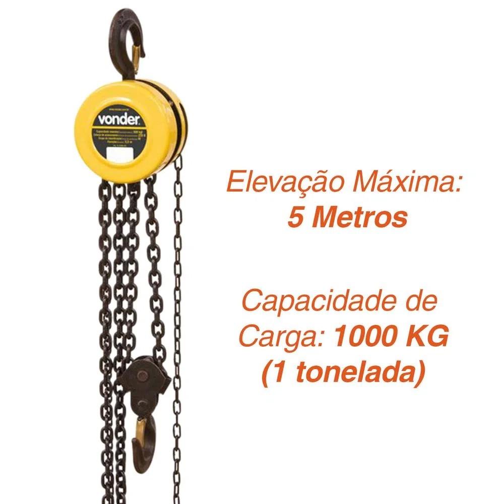 TALHA MANUAL 1,0 TONELADA ELEVAÇÃO 5,0 M - 6143010050 VONDER