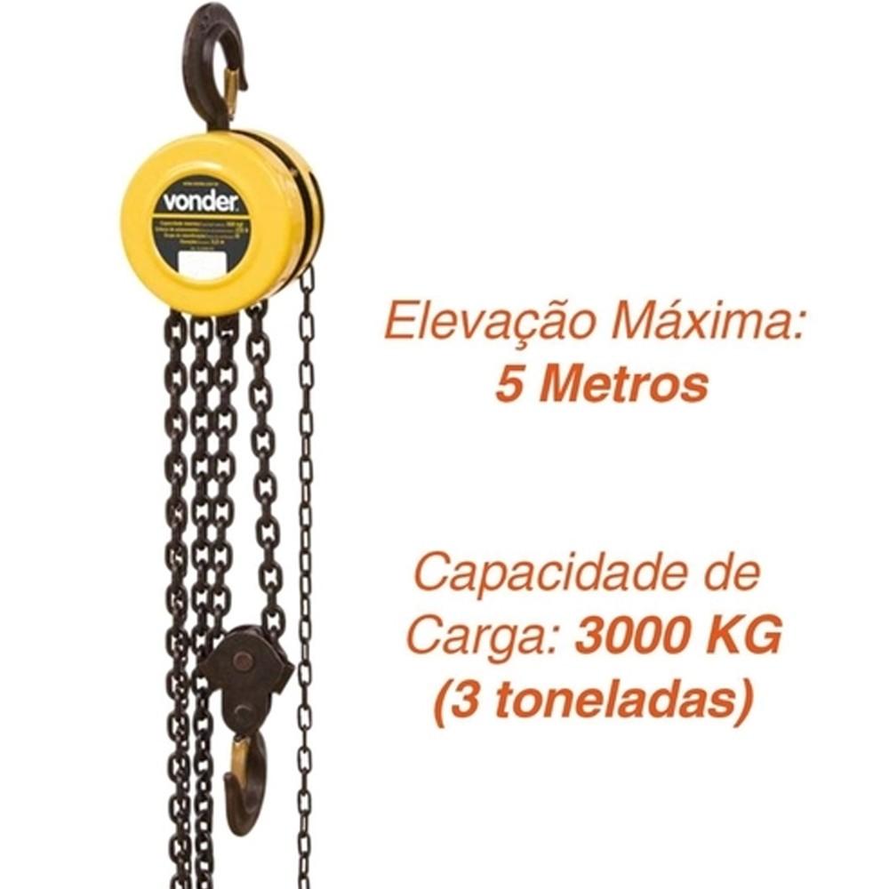 TALHA MANUAL 3 TONELADA ELEVAÇÃO 5 M - 6143030050 VONDER