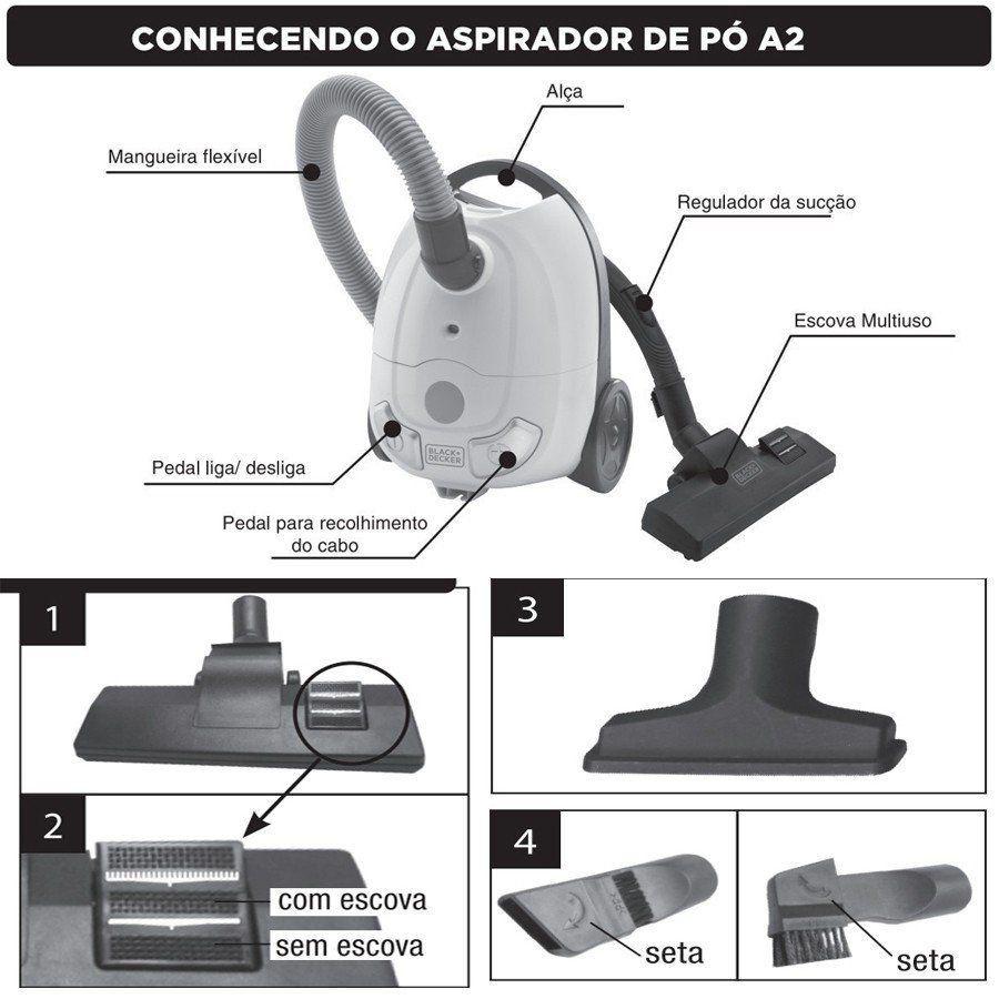 ASPIRADOR DE PÓ 1200 W A2B BRANCO - BLACK DECKER