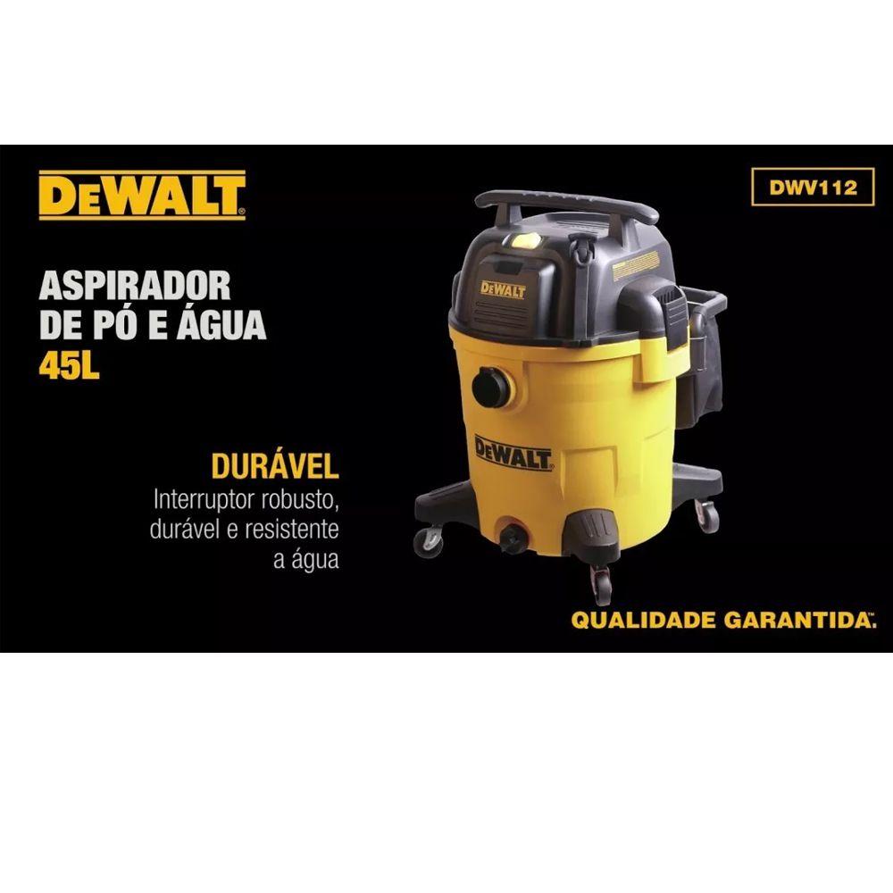 ASPIRADOR DE PO E AGUA 45LT 1250W  - DWV112 DEWALT