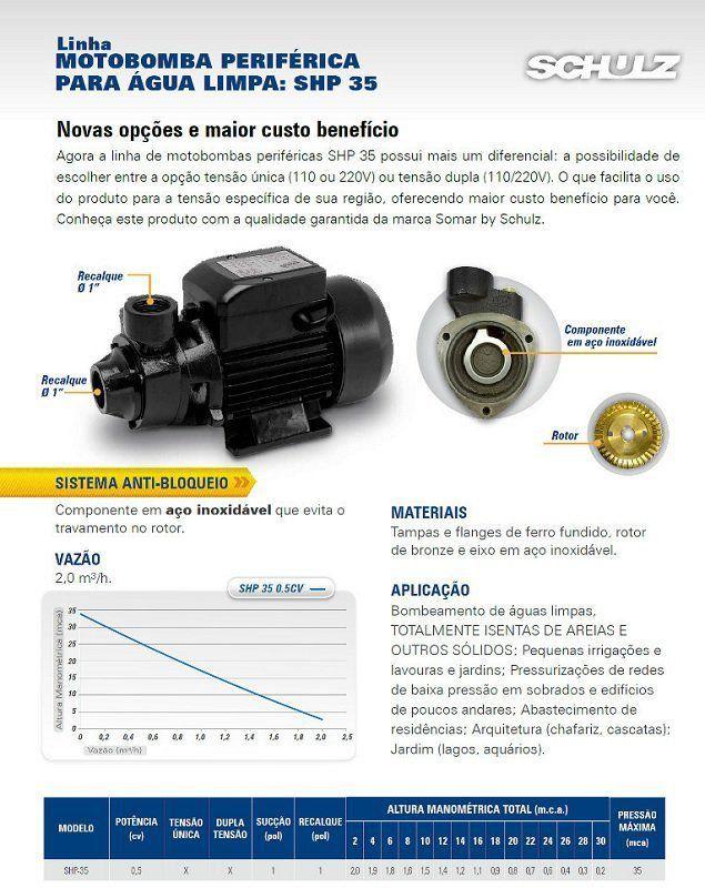 Bomba D'agua Periferica Para Poço E Piscina 1/2 Cv Shp-35 Somar Schulz