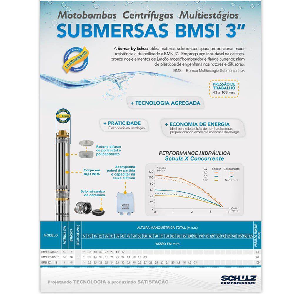 "BOMBA SUBMERSA INOX 3"" 0,5CV PARA POÇO SEMI ARTESIANO - 16006010 - SOMAR"