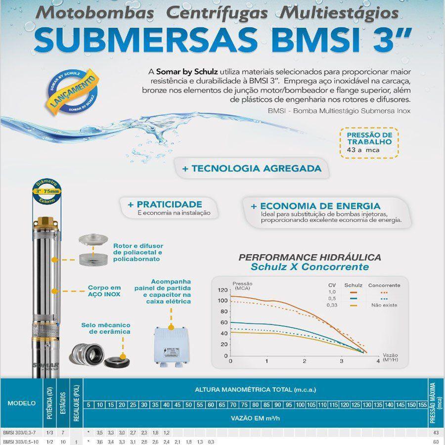 BOMBA SUBMERSA TIPO CANETA PARA POÇO SEMI ARTESIANO 1/3 CV COM PAINEL - SCHULZ - BMSI 303-7