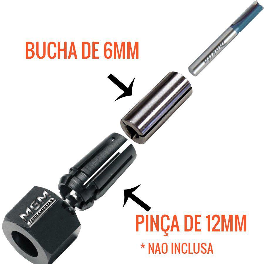 BUCHA DE REDUCAO PARA PINÇA DE 12MM P/ 6MM P/ TUPIA 763801-4 MAKITA