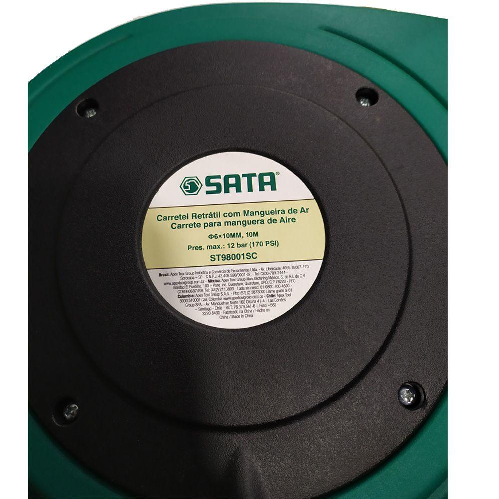 CARRETEL RETRATIL COM MANGUEIRA 10M - ST98001SC SATA