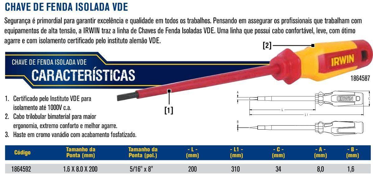 CHAVE DE FENDA ISOLADA VDE PEÇA 5/16 X 8´´ IRWIN