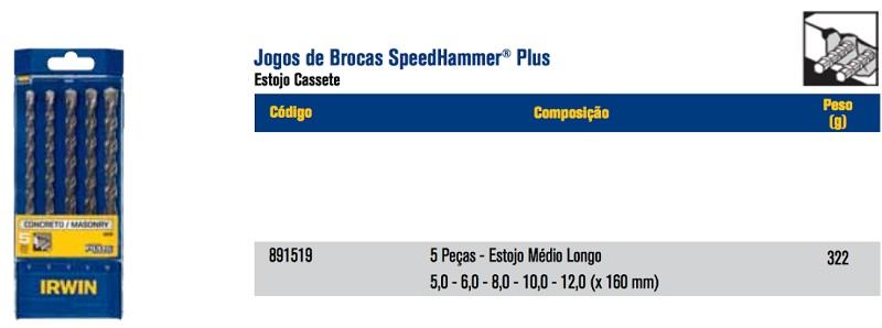 Conjunto Brocas Encaixe Sds Plus Concreto 5uni Irwin 891519