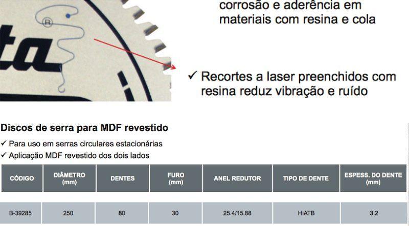 Disco Corta Mdf Revestido Serra 10p 80 Dentes Makita B-39285