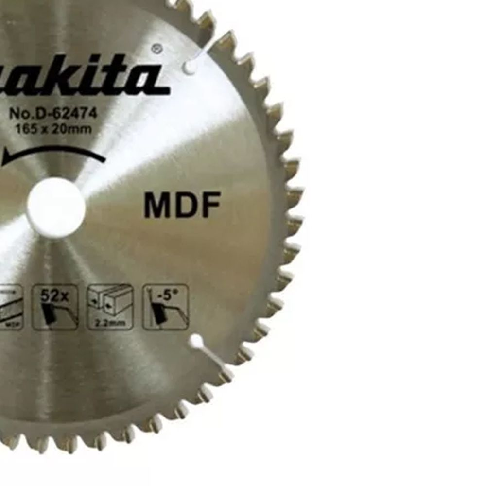 DISCO DE SERRA P/ MDF 165MM X 20MM X 52T - D-62474 MAKITA
