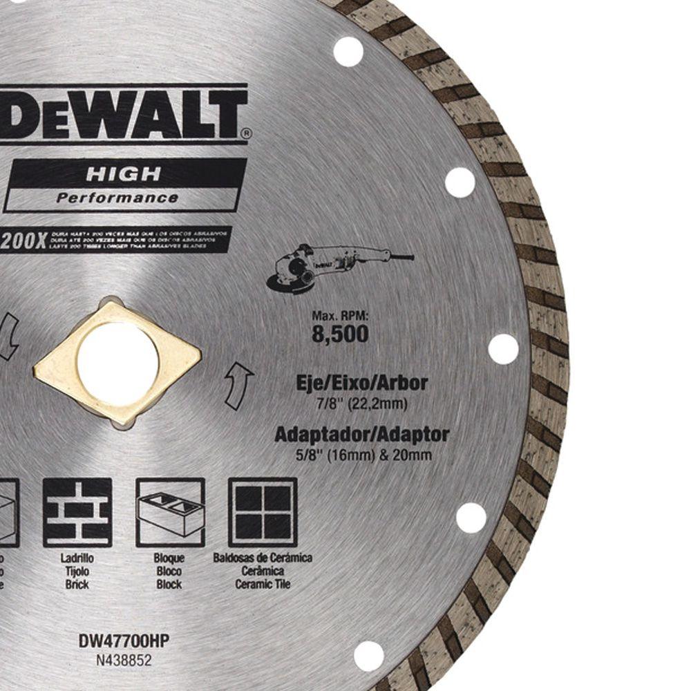"""DISCO DIAMANTADO DE 7"""" 180mm TURBO - DW47700HP  DEWALT"""