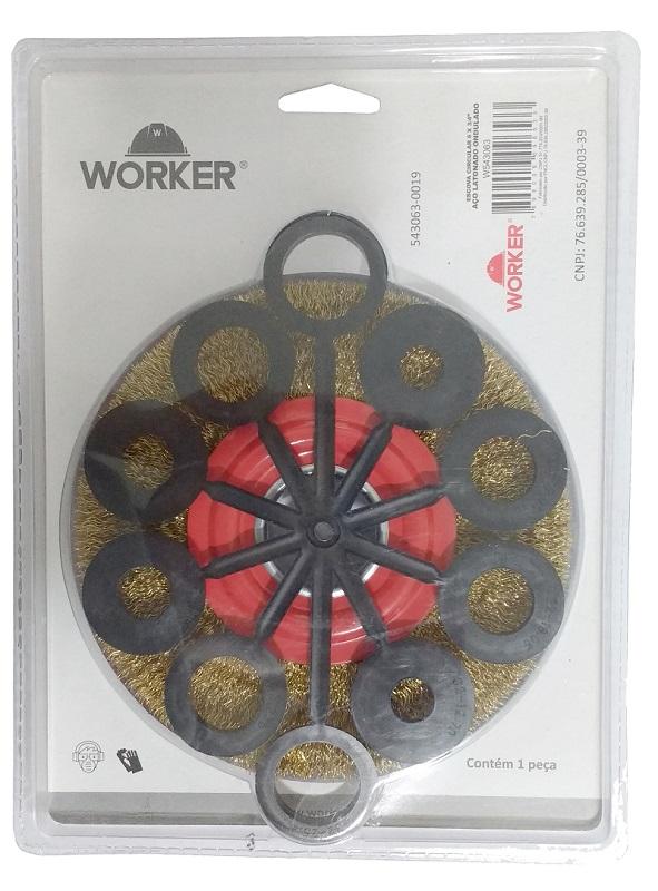 """ESCOVA CIRCULAR ACO ONDULADO 6X3/4"""" - WORKER"""