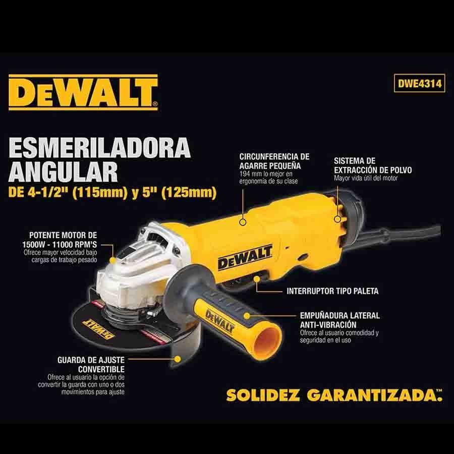 """ESMERILHADEIRA ANGULAR 5"""" 1500 W DWE4314 DEWALT"""