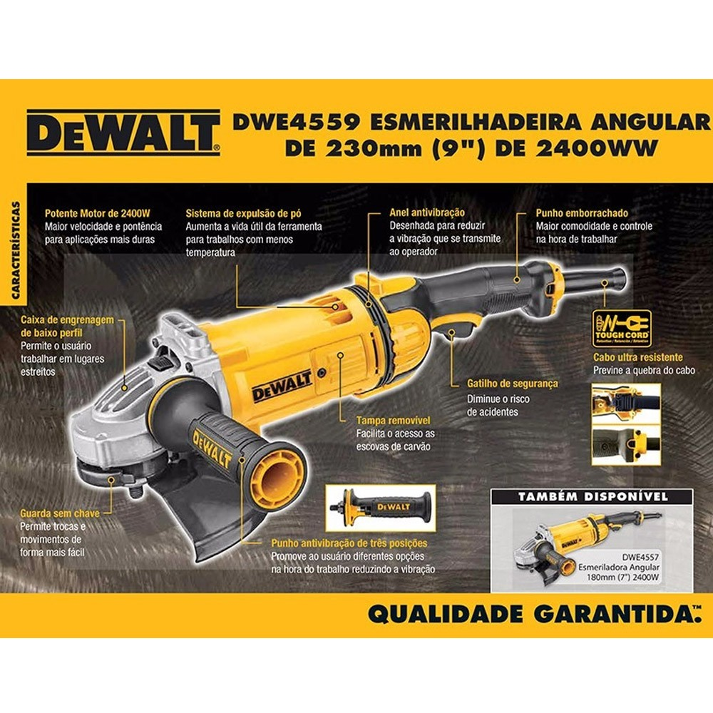 """ESMERILHADEIRA ANGULAR 9""""  2400W - DWE4559 DEWALT"""