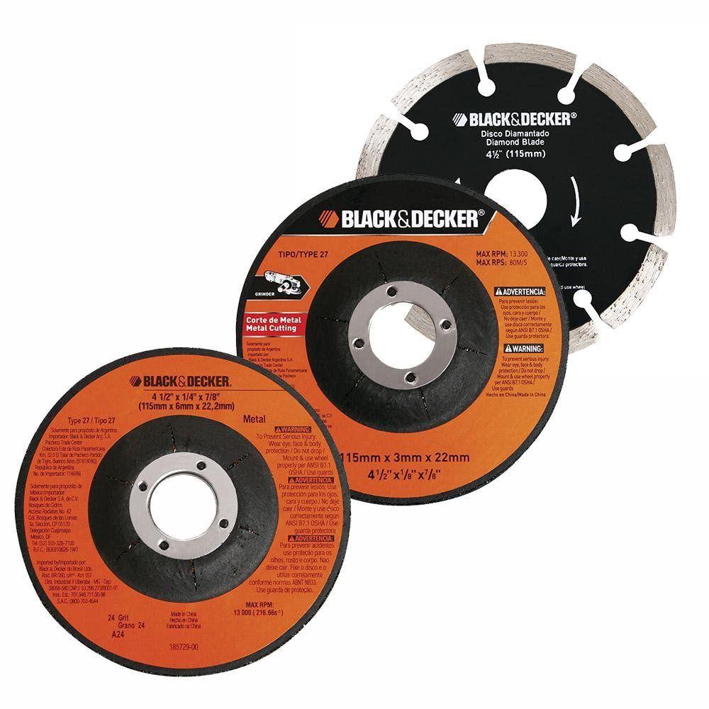 ESMERILHADEIRA ANGULAR DE 4.1/2 POL. 820W  + 12 DISCOS E MALETA - G720K12 BLACK+DECKER